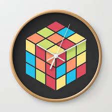 68 rubix cube wall clock by mnmlthing