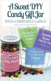 candy gift jar with printable labels