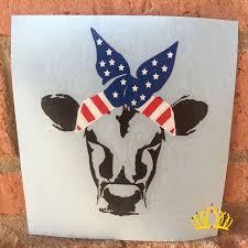 Cow Car Decal Cow With Bandana Decal Yeti Decal Cow Etsy Country Car Decals Yeti Decals Skull Decal