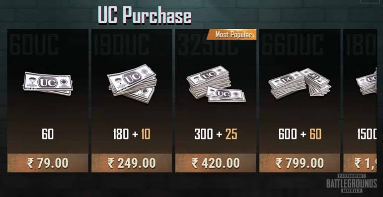 Image result for pubg mobile uc cost""