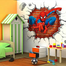 Marvel Super Hero Spiderman Through The Wall 3d Stereoscopic Wall Stickers Children Room Bedroom Background Decoration Stickers Stickers Aliexpress