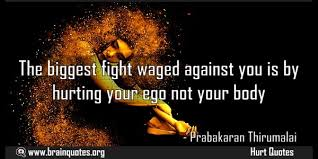 the biggest fight waged against you is by hurting your ego not quote