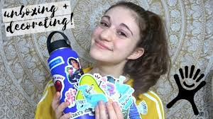 How To Decorate Your Hydro Flask Sticker Unboxing Haley Rose Youtube