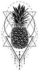 Black And White Pineapple With Geometric Shapes Sticker