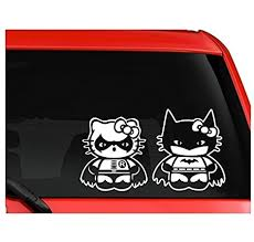 Amazon Com Hello Kitty Batman And Robin Car Truck Suv Decal Sticker Sticker Graphic Auto Wall Laptop Cell Automotive