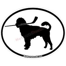 Portuguese Water Dog Pet Ice Hockey Oval Decal And Magnets