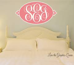 Oval Shaped Monogram Wall Decal With Script Initials Leen The Graphics Queen