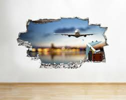 Q234w Plane Travel Airport Cool Smashed Wall Decal 3d Art Stickers Vinyl Room Ebay