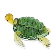 glass mini green turtle paperweight art