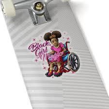 Black Girl Wheelchair Sticker Decal Black Girl Magic Disabled Handicap Afro Puffs Gift Lapto In 2020 Black Girl Magic Stickers Magic Design