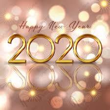 خلفية سنة جديدة سعيدة مع حروف ذهبية وأضواء خوخه السنة الجديدة