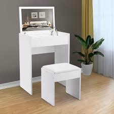 2 6ft h white makeup vanity table set
