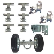 6 Chain Link Wall Mounted Rolling Gate Hardware Kit Chain Link Fence Gate Parts 6 Rut Runner 2 Track Wheels 6 Wall Mounted Track B