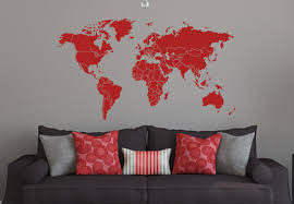 Vinyl Wall Decal 59 W Large Size World Map Decals Countries Borders Country Border Home House Wall S On Luulla