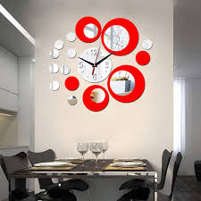 Hooddeal Acrylic Clock Mirrors Style Removable Decal Vinyl Art Wall Sticker Home Decor Silver Red Amazon Com