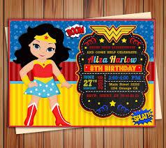 Wonder Girl Super Girl Invitation Wonder Girl Digital Chalkboard