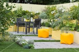 terraced flowerbeds in various shades