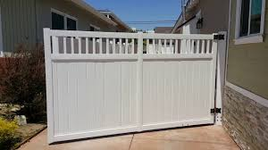 Motorised Single Swing Gate White Vinyl Privacy With Picket On Top Youtube