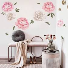Amazon Com Decalmile 6 Pcs Giant Peony Flowers Wall Decals Romantic Floral Wall Stickers Girls Bedroom Living Room Wall Art Home Decor 3 Sizes 20 14 11 W Kitchen Dining