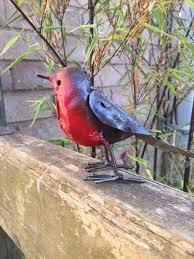 robin metal bird garden ornament in