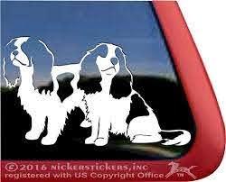 Amazon Com Pair Of Sitting Cavaliers Dog Vinyl Window Decal Sticker Automotive