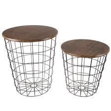 metal and wood round accent table set