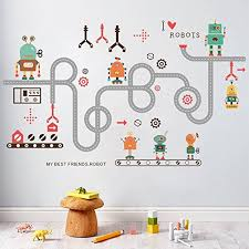 Livegallery Removabele Transports And Roads Kids Wall Decals Wall Stickers Diy Curved Road Robot Wall Decal Peel And Stick Art Decor For Kids Bedroom Babys Nursery Room Living Rooms Wall Decoration