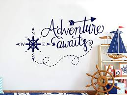 Amazon Com Adventure Awaits Wall Decals Vinyl Stickers Decal Nautical Compass Nursery Boys Decor Nautical Art Decorations For Bedroom Playroom Ns1111 28 Tall X 48 Wide Home Kitchen