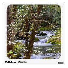 Smoky Mountain Stream W Dogwood Tree Blossoms Wall Decal Zazzle Com