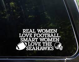 Amazon Com Real Women Love Football Smart Women Love The Seahawks 8 1 4 X 3 3 4 Vinyl Decal Sticker Automotive