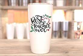 Best Teacher Ever Tumbler Decal Teacher Stickers Back To Etsy