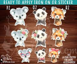 Iron On Transfer Or Sticker Decal S431 Floral Watercolor Baby Animals Koala Bear Panda Red Panda Stickers By Stephanie