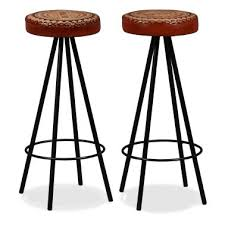 vidaxl bar stools 2 pcs real leather