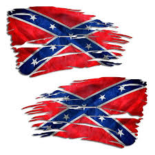 Tattered Confederate Flag Decal Jeep Chevy Ford Rebel Flag Sticker