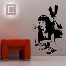 Mia Wallace Wall Sticker Quentin Tarantino Film Pulp Fiction Vinyl Decal Dorm Bar Teen Room Home Interior Art Decor Mural Decoration Murale Teen Roomvinyl Decal Aliexpress