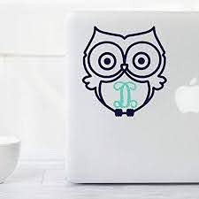 Amazon Com Owl Decal Sticker With Monogram Initial Gift For Her Yeti Tumbler Tablet Macbook Laptop Planner Etc Handmade