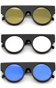 flat top color mirrored flat lens round