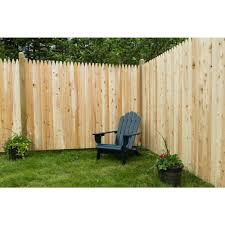 6 Ft H X 8 Ft W Privacy Eastern White Cedar Moulded 3 In Stockade Pointed Picket Fence Panel 235681 The Home De Fence Options Backyard Fences Fence Prices