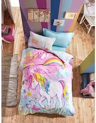 Amazon Com 100 Cotton Girls Kids Bedding Set Unicorn Themed Twin Size Quilt Duvet Cover Set Kids Bedroom Multi Color Reversible Kitchen Dining