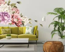 Large Peony Wall Decal Set Of 6 Flower Wall Decals Peel Etsy