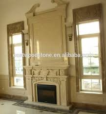 beige marble wall mounted gas fireplace