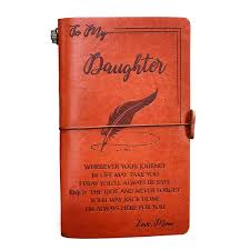 engraved leather journal notebook diary custom message quotes gift