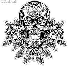 Amazon Com Osmdecals Sugar Skull Sticker Version 12 Day Of The Dead Vinyl Wall Home Decor Car Window Bumper Decal Sticker Automotive