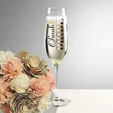 Wedding Vinyl Champagne Flute Glass Personalised Decal Stickers Ebay