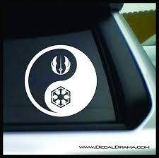Light Side Dark Side Yin Yang Star Wars Inspired Vinyl Decal Sticker