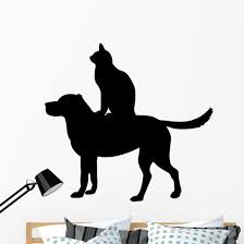 Dog And Cat Silhouette Wall Decal Wallmonkeys Com