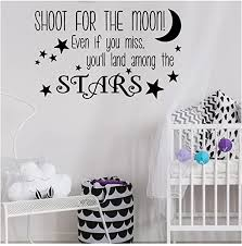 Amazon Com Shoot For The Moon Even If You Miss You Ll Land Among The Stars Vinyl Lettering Wall Decal Sticker Black 21 H X 33 L Home Kitchen