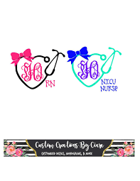 Nurse Monogram Decal Name Stethoscope Decal Heart Nurse Etsy Nurse Monogram Decal Stethoscope Decal Nurse Decals