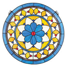 blue flower stained glass window