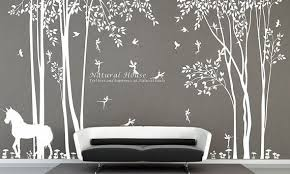 Nature Vinyl Forest Tree Wall Decal With Fairy Decal Baby Girl Fairy Forest Wall Sticker For Living Room Bed Wall Stickers Living Room Girl Room Baby Girl Room